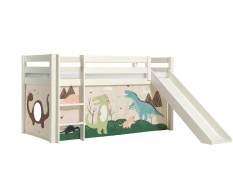 Vipack 'Pino' Halhochbett 90x200 cm, weiß, Kiefer massiv, mit Rutsche und Textilset 'Dino'