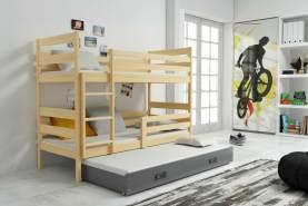 Stylefy Kera mit Extrabett Etagenbett 80x160 cm Eiche Graphit