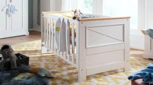 G + K 'Galio' Babybett, Kiefer massiv, weiß eichefarbig 70x140 cm