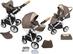 TOMAS Kombikinderwagen 3in1 braun inkl. Sportsitz, Babywanne, Babyschale, Wickeltasche und Regenschutz