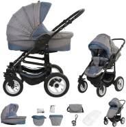 Bebebi Florenz | Luftreifen in Weiß | 2 in 1 Kombi Kinderwagen | Luftreifen | Farbe: Da Vinci Blue Black