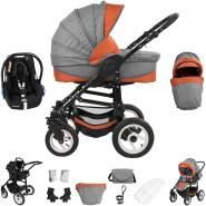 Bebebi Florenz | 3 in 1 Kinderwagen Set mit Original Maxi Cosi | Luftreifen | Farbe: Spirito Orange Black