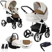 Bebebi Fizzy | ISOFIX Basis & Autositz | 4 in 1 Kombi Kinderwagen | Farbe: Coffee Hartgummi