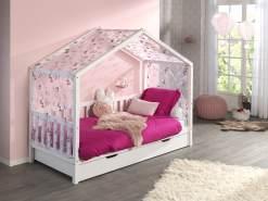 Vipack 'Dallas 1' Hausbett 90 x 200 cm, mit seitlicher Umrandung, Bettschublade weiß und Textilhimmel