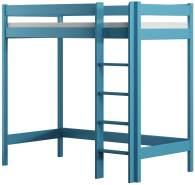 Kinderbettenwelt 'Luca' Hochbett 80x180 cm, blau, Kiefer massiv, inkl. Matratze und Lattenrost