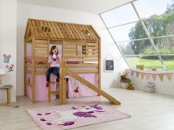 Relita 'Tom´s Hütte' Spielbett mit Rutsche, Buche massiv geölt, inkl. Textilset 'Princess'