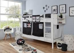 Ticaa 'Rene' Etagenbett Buche weiß, 90 x 200 cm, Vorhang Pirat Schwarz-Weiß (Ausführung 1)