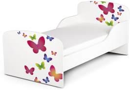 Leomark Kinderbett 70x140 cm, Schmetterlinge, mit Matratze und Lattenrost