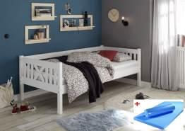 Bega 'Trevi' Kinderbett 90x200 cm, weiß, Kiefer massiv, inkl. Matratze (blau)