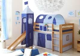 Ticaa Rutschbett mit Turm Toby R Buche Natur - hellblau-dunkelblau
