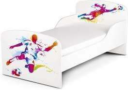 Leomark Kinderbett 70x140 cm, Football, mit Matratze und Lattenrost