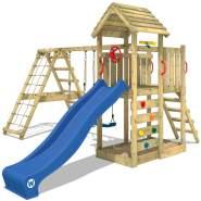 WICKEY Spielturm Klettergerüst RocketFlyer mit Schaukel & blauer Rutsche, Kletterturm mit Sandkasten, Leiter & Spiel-Zubehör