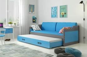 Stylefy Tore Funktionsbett 80x190 cm Graphit Blau