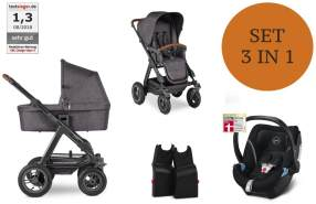 ABC Design 'Viper 4' Kombikinderwagen 3 in 1 2021, Street Grey, inkl. Babyschale Black, Wanne und Adapter