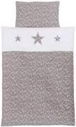 Babybay Kinderbettwäsche Piqué, taupe Sterne weiß mit Applikation Stern 100x135