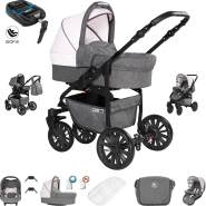 Friedrich Hugo Berlin | 4 in 1 Kombi Kinderwagen + ISOFIX | GEL Reifen | Farbe: Grey and Light Rose Night