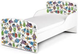 Leomark Kinderbett 70x140 cm, Kosmos, mit Matratze und Lattenrost
