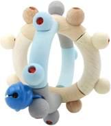 Hess 11108 - Holzspielzeug, Motorikrassel Kugel aus Holz, nature blau