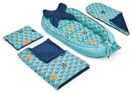 5tlg. Babynest-Set 'türkis/blau Minky' 50x90cm