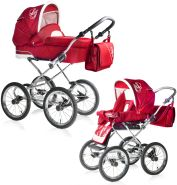 Bebebi Loving | 2 in 1 Kombi Kinderwagen | Nostalgie Kinderwagen | Farbe: Red Ardent