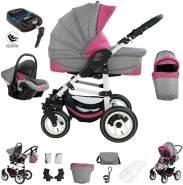 Bebebi Florenz | ISOFIX Basis & Autositz | 4 in 1 Kinderwagen | Hartgummireifen | Farbe: Davanzati Pink White