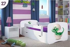 Kocot Kids 'Kleiner Dino' Einzelbett weiß 80x180 cm inkl. Rausfallschutz, Matratze, Schublade und Lattenrost