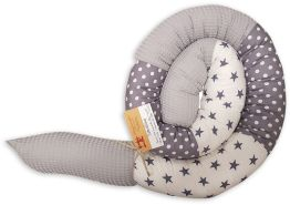 Schlangenmanufaktur Handmade Bettschlange Patchwork, Grau/Weiß mit Waffelpique 350cm