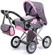 Bayer Design 13666AA City Star in modernen Design, Kombi Puppenwagen, mit herausnehmbarer Tragetasche und Umhängetasche, höhenverstellbar, für Puppen bis 46cm, grau, pink, gepunktet mit Fee