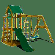 WICKEY Spielturm Klettergerüst TinyPlace mit Schaukel & grüner Rutsche, Kletterturm mit Sandkasten, Leiter & Spiel-Zubehör