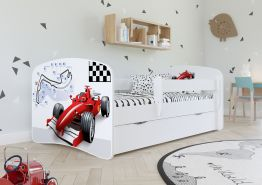 Kinderbett Jugendbett Weiß mit Rausfallschutz Schublade und Lattenrost Kinderbetten für Mädchen und Junge - Formel 70 x 140 cm