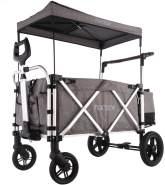 FUXTEC 'CTL-900' Luxus Bollerwagen in Grau, inkl. Sonnendach, Hecktasche, Zugstange und Schiebegriff, gepolsteter Boden und Rückenlehne, 5-Punkt-Sicherheitsgurt und belüftetes Schuhfach