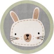 Zala Living Kinderteppich Soft Konturschnitt Rund Hase Leslie 100 cm