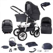 Bebebi Bellami - Isofix Basis und Autositz - 4 in 1 Kombi Kinderwagen Bellagrey Roues gonflables