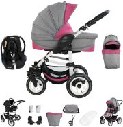 Bebebi Florenz | 3 in 1 Kinderwagen Set mit Original Maxi Cosi | Luftreifen | Farbe: Davanzati Pink White
