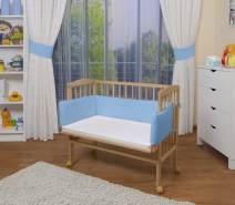 WALDIN Beistellbett mit Matratze, höhenverstellbar, Große Liegefläche, Ausstattung blau, Gestell Natur unbehandelt
