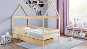 Kinderbettenwelt 'Home Plus' Hausbett 90x200 cm, natur, Kiefer massiv, mit Schublade und Matratze