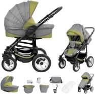 Bebebi Florenz | Luftreifen in Weiß | 2 in 1 Kombi Kinderwagen | Luftreifen | Farbe: Medici Green Black