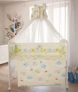 Polini Kids Baby Bett-Set Wäsche 120x60 'Teddybär-Gelb' 7-tlg