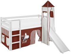 Lilokids 'Jelle' Spielbett 90 x 200 cm, Pferde Braun Beige, Kiefer massiv, mit Turm, Rutsche und Vorhang
