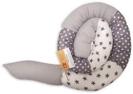 schlangenmanufaktur 'Patchwork' Handmade Bettschlange Grau/Weiß mit Waffelpique 180 cm
