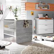 "2-tlg. ""Babybett und Wickelkommode Set 'Frieda' vintage wood grey/weiß matt"
