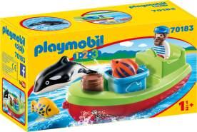 Playmobil 1.2.3 70183 'Seemann mit Fischerboot', 7 Teile, ab 1,5 Jahren