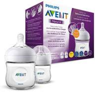 Philips Avent Natural Flasche SCF030/27, 125ml, naturnahes Trinkverhalten, Anti-Kolik-System, transparent