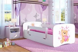 Kocot Kids 'Teddybär mit Schmetterlingen' Einzelbett weiß 70x140 cm inkl. Rausfallschutz, Matratze, Schublade und Lattenrost