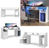Vicco Computertisch Joel Groß PC-Tisch Weiß Gamingtisch Schreibtisch Büromöbel