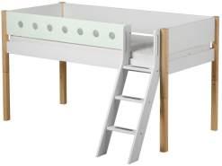 Flexa 'White' Halbhochbett weiß/natur/mint, schräge Leiter, 90x190cm
