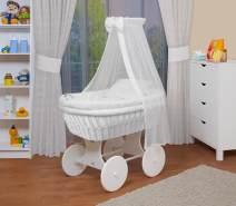 WALDIN Baby Stubenwagen-Set mit Ausstattung, Gestell/Räder weiß lackiert, Ausstattung weiß