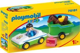 Playmobil 1.2.3 70181 'PKW mit Pferdeanhänger', 5 Teile, ab 1,5 Jahren