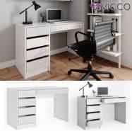 Vicco 'Sherry' Schreibtisch, weiß, mit 5 Schubladen