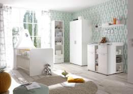 Bega 'Bibo' 5-tlg. Babyzimmer-Set, weiß, aus Bett 70x140 cm, Wickelkommode inkl. 2 Unterstellregalen, 2-trg. Kleiderschrank, Wandboard und Standregal